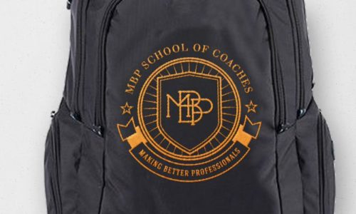 Embroidered backpacks for MBP School of Coaches and Sport Networking Barcelona - Header Image